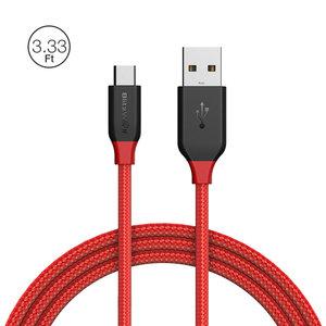 BlitzWolf AmpCore BW-MC4 2.4A Micro USB gevlochten oplaad datakabel 1m rood